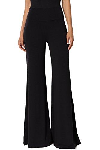 Flare Slacks - TheMogan Women's Comfy Soft High Waisted Wide Palazzo Lounge Pants Black 3XL