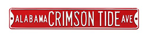 Authentic Street Signs Officially License College, NCAA, REAL 3 Foot, Solid Steel Embossed- Prime Wall Decor for Home, Office, Man Cave- Perfect Gift for Him!! (Alabama Crimson Tide Red) - Home Authentic Steel Parking Sign