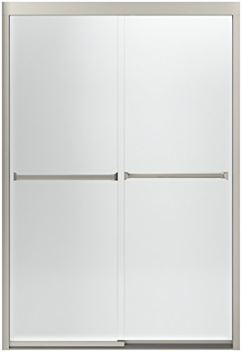 (STERLING 581075-48N-G03 Meritor Frameless Sliding Shower Door with Frosted Glass Pattern, 47-5/8 x 69-11/16-Inch, Nickel)