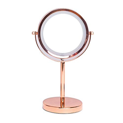 AJLTPA 1X/3X Magnifying Double Sided Mirror with Stand 18 LED Lighted Tabletop -