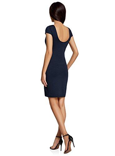 oodji Collection Mujer Vestido Ajustado con Escote en la Espalda Azul (7900N)