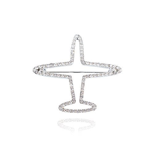 - MUZHE Silver Plated Crystal Tiny Hollow Airplane Brooch Pin Simple Aircraft Jewelry