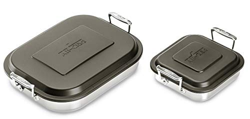 All-Clad E901S474 15-in Lasagna Pan and 8-in Square Baker Two Piece Stainless Steel Cookware Bundle Set w/lids, Silver
