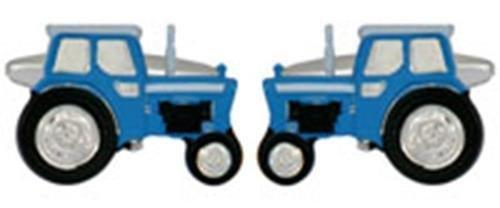 Boutons de manchette Homme-Tracteur-Plaqué Rhodium cadeau Bleu