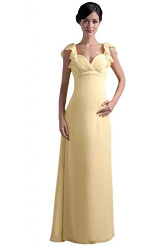 fodera raso lungo da elegante chiaro in Pageant Giallo da sera Sunvary Abito lunghezza pavimento donna q5vCRv