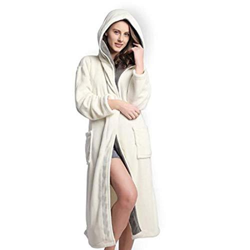 Bianca Homebaby Caldo Spa Di Indumenti Invernale Pigiama Cappuccio Kimono Con Felpa In Cotone Da Peluche Per Donna Notte Lusso Accappatoio Biancheria Scialle 1Rxar1