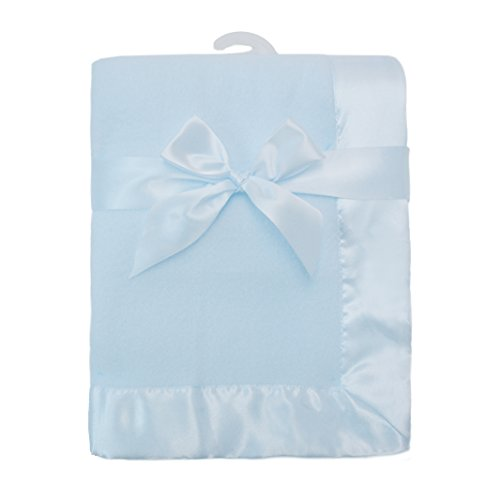 Fleece Satin Baby Blanket (TL Care Fleece Blanket with Satin Trim, Blue, 2