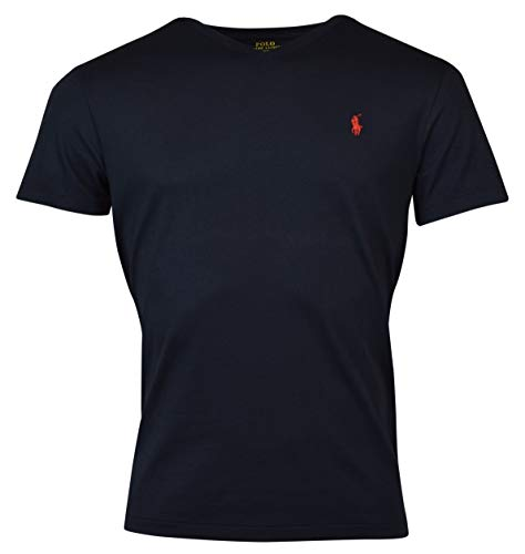 Polo Ralph Lauren Men's Classic Fit V-Neck Pony Logo T-Shirt, Ink/Red Pony, L
