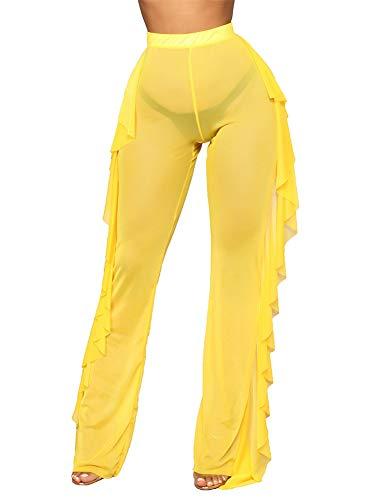 Women's Sexy Beach Pants See Through Thin Side Frill Bikini Bottom Cover-Up Skinny Pants (L, Yellow)