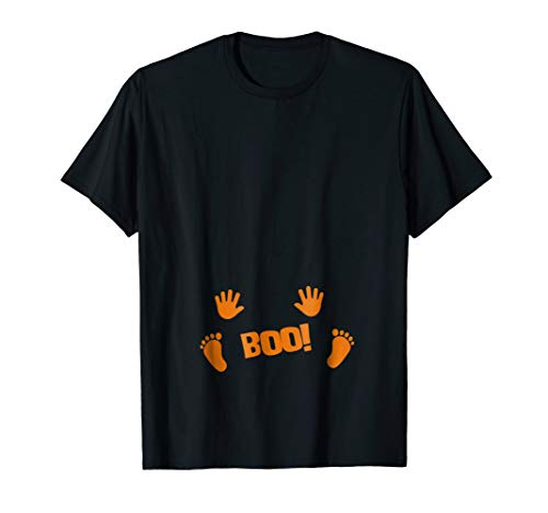 Pregnancy Halloween Costume Shirt Boo Baby Feet and