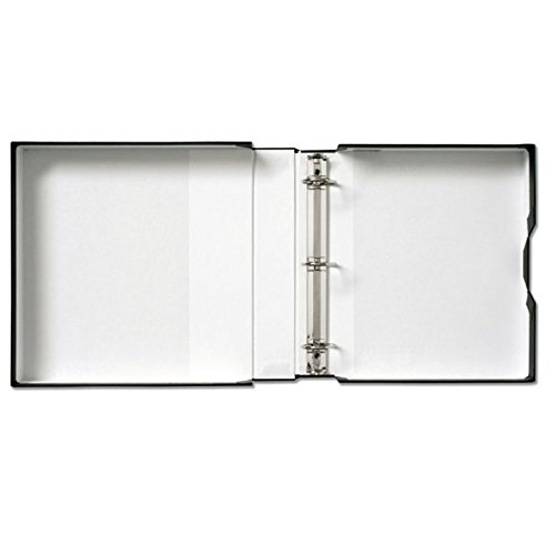 Prat Century Storage Box with Mounted D-Ring Binder, Lined with Acid-Free White Paper, 11 X 12 X 1.5 inches, Black (1110D) (3 Ring Binder Box For Negative)