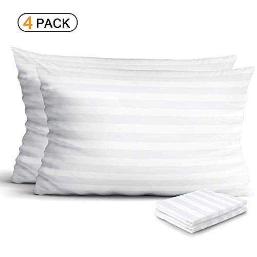 Cotton Sateen Pillow Protector - 4-Pack 100% Egyptian Cotton Pillow Protectors, Zippered Allergy Control Pillowcases, Hypoallergenic Bed Bug & Dust Mite Resistant Anti-Microbial 300 Thread Count Sateen Pillow Covers, Queen