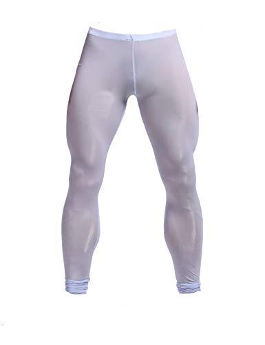 K-Men Mens Plus Size Mesh Long Johns Slim Fit Sexy Light Blue Legging Tights XXL