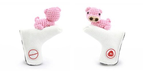 Amimono Pig Putter Golf Head Cover, White/Pink