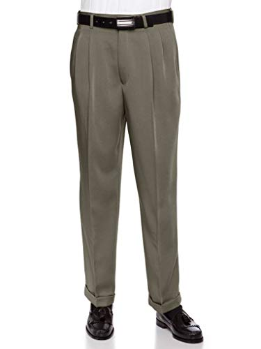 Cuff Dress Pants - RGM Men's Work to Weekend Microfiber Performance Traditional Fit Pleated Dress Pant Olive 40 Short