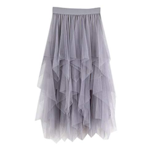 PASATO Casual Womens Irregular Comfortable Tulle High Waist Pleated Tutu Skirt Ladies Solid Midi Skirt(Gray,Free Size)