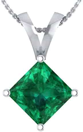 DTJEWELS Halo Pendant Necklace W//18 Chain 0.34 Ct Princess Black /& Sim Diamonds 14K Gold Plated .925