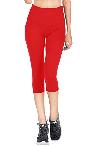 VIV Collection Signature Capri Leggings Soft w Pocket (M, Red)