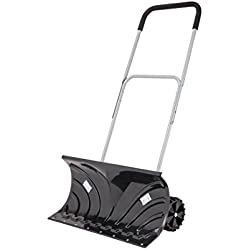 "ORIENTOOLS Heavy-Duty Rolling Adjustable Snow Pusher with 6"" Wheels, Suitable for Driveway or Pavement Clearing (25"" Blade)"
