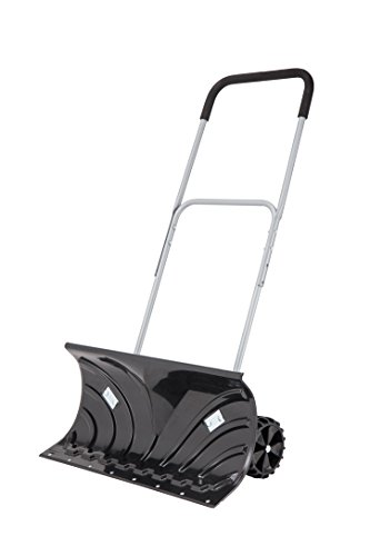 ORIENTOOLS Heavy Duty Rolling Snow Pusher with Wheels for clearing your driveway, path or pavement