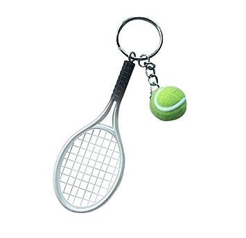 Llavero con raqueta de tenis en color gris: Amazon.es ...