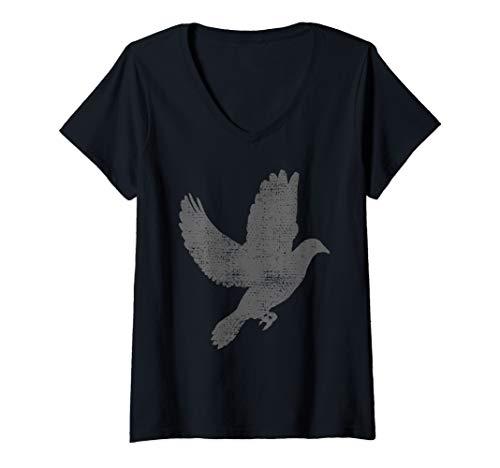 Womens Dove Pigeon Bird Lover Vintage Gift V-Neck T-Shirt
