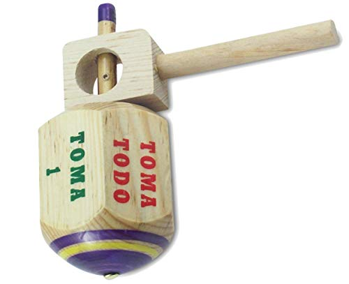 MoreFiesta Jumbo Pirinola Toma Todo Game Set – Hand Painted Wood 5 Inches Tall Spinning Tops Traditional Mexican Game in…