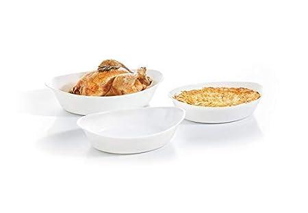 Luminarc Smart Cuisine Fuentes para Horno, Vidrio Opal, Blanco, 38 ...