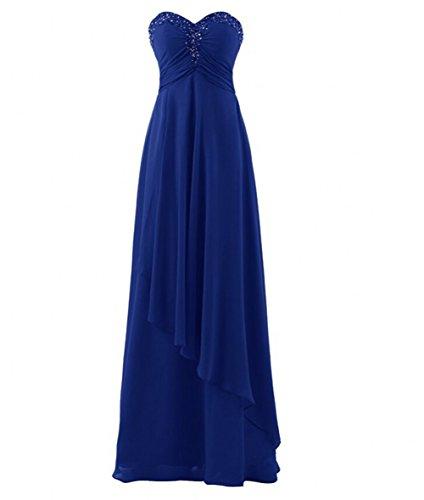 Beauté Perles Cristal Sweetheart Femmes Ak Soir Robes De Bal Bleu Royal