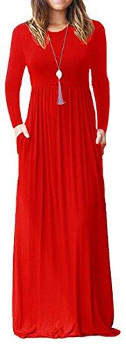 A Bassa Solido Di Scuro Manica Vita Rosso Pantaloni Comodo Oscillazione Donne Lunga Abito Pieghe A Lungo Cromoncent Colore wAvWWFPq