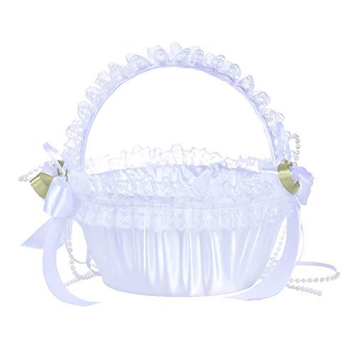 (Icocol Bridal Flower Girl Basket Ring Bearer Wedding Ceremony Party Decoration with Silk Ribbon (C))