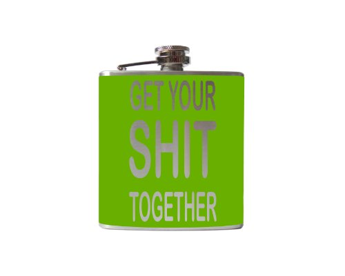 Get Your Shit Together Flask-6, 8 Ounce - Custom, Personalized- Many Colors (6 Ounce, Lime Green - Matte)