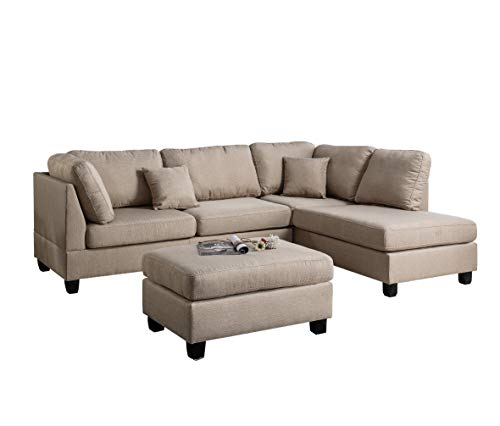 Farmhouse Living Room Furniture Poundex PDEX- Upholstered Sofas/Sectionals/Armchairs, Sand farmhouse sofas and couches