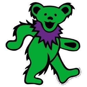 Bear Green Dancing - Grateful Dead - Large Green Dancing Bear - Sticker / Decal