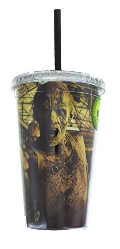 Official, The Walking Dead, Plastic Tumbler/Travel Mug/Cup with Reusable Straw and Screw on Lid (BPA FREE, Pack of 1), 16oz -