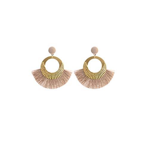 (Tantisy ♣↭♣ Fashion Women's Girls Tassel Earrings Summer Bohemia Weave Dangle Stud Earrings Trend Lightweight Jewelry Khaki)