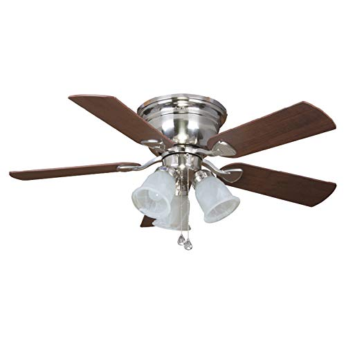 Cheap Harbor Breeze Centreville 42-in Brushed Nickel Indoor Flush Mount Ceiling Fan with Light Kit