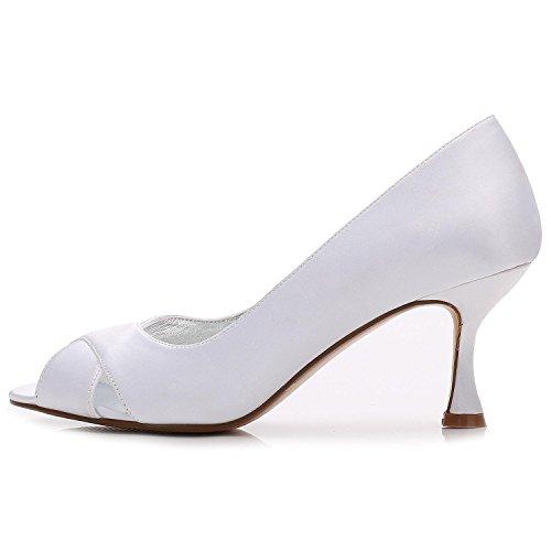 YC comme Mesure Femmes Peep Toe Chaussures de Lace E17061 Stitching Mariage Satin Sandals Blue Soie pour 13 L sur RqdwTCzxR