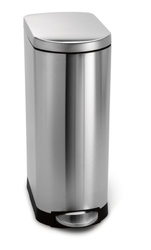 simplehuman slim step trash can brushed stainless steel 35 liters