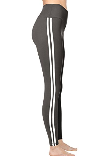 VIV Collection Striped Leggings Yoga High Waistband w/Hidden Pocket (REG, Charcoal) ()