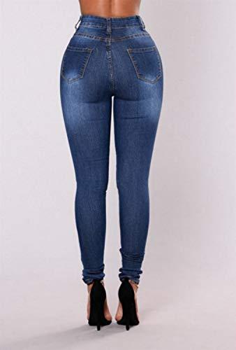 crpe Blue en Skinny fonc 003 dchir MISSKERVINFENDRIYUN Bleu Pantalon dcontract X10zYp