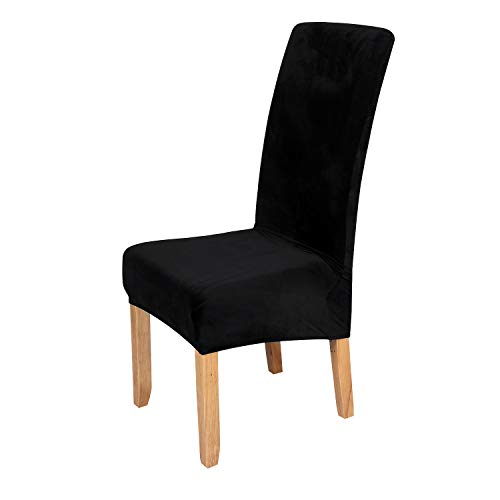 Velvet Stretch Dining Chair Slipcovers – Spandex Plush Short Chair Covers Solid Large Dining Room Chair Protector Home Decor Set of 4, Black