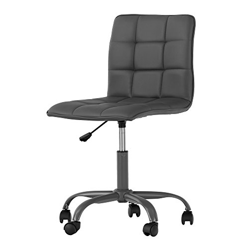Annexe Gray Office Chair with Quilted Seat – Ergonomic Executive Office Chair – Mid Back Chair for Home Office by South Shore