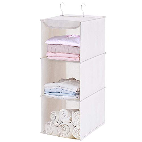 Hanging Closet Organizer 3 Shelf 24 Inches High Easy Mount Sweater & Sock Organizer Wardrobe Storage with 2 Metal Hook Collapsible Cloth Storage Shelves for Clothes Pants and ShoesSpace Saver ()