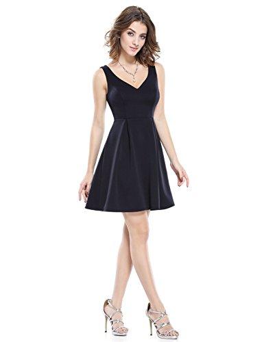 Alisapan Modisch V-Ausschnitt Kurz Casual Kleid 10UK Mittenacht Blau
