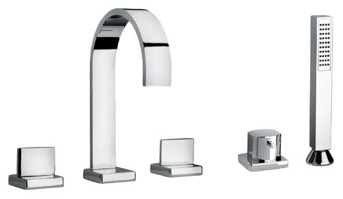 Jewel Faucets 15109  Chrome Two Lever Handle Roman Tub Faucet and Hand Shower with Classic Ribbon Spout from Jewel Faucets