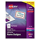 """Avery White Adhesive Name Badges with Red Border, 2-1/3"""" x 3-3/8"""", Box of 400 (5095)"""