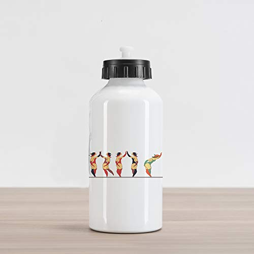 Burlesque Circus - Lunarable Circus Aluminum Water Bottle, Circus Acrobat in Different Poses for Cabaret and Burlesque Performances, Aluminum Insulated Spill-Proof Travel Sports Water Bottle, Multicolor