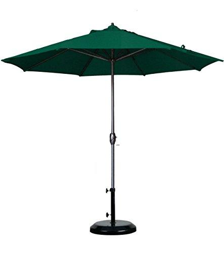 California Umbrella 9' Round Aluminum Market Umbrella, Crank Lift, Auto Tilt, Bronze Pole, Sunbrella Forest Green