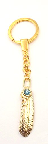 (Feather Imitation Topaz Good Luck Man/Woman's Keychain Gold-Plate Car Accessory- Pocket -Pocketbook)